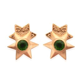 GP Russian Diopside and Blue Sapphire Stud Earrings (with Push Back) in 14K Gold Overlay Sterling Si