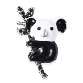 Black and Green Austrian Crystal Enamelled Koala Brooch in Silver Tone