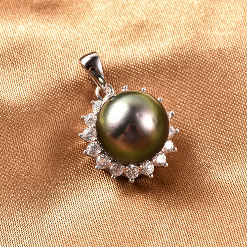 Tahitian Pearl and White Zircon Halo Pendant in Rhodium Plated Sterling Silver