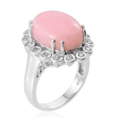 Peruvian Pink Opal (Ovl 9.10 Ct), White Topaz Ring in Platinum Overlay Sterling Silver 9.750 Ct.