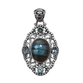ARTISAN CRAFT - Labradorite (Ovl), Electric Blue Topaz Pendant in Oxidised Sterling Silver 11.78 Ct,