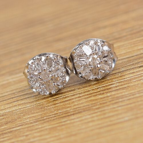 Diamond Cluster Earrings (with Push Back) in Platinum Overlay Sterling Silver