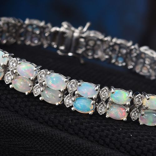 Ethiopian Welo Opal (Ovl), Natural Cambodian Zircon Bracelet (Size 7.5) in Platinum Overlay Sterling Silver 12.50 Ct, Silver wt 20.00 Gms