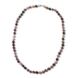 107.60 Ct Rainbow Tourmaline Beaded Necklace in Rhodium Plated Silver 20 Inch