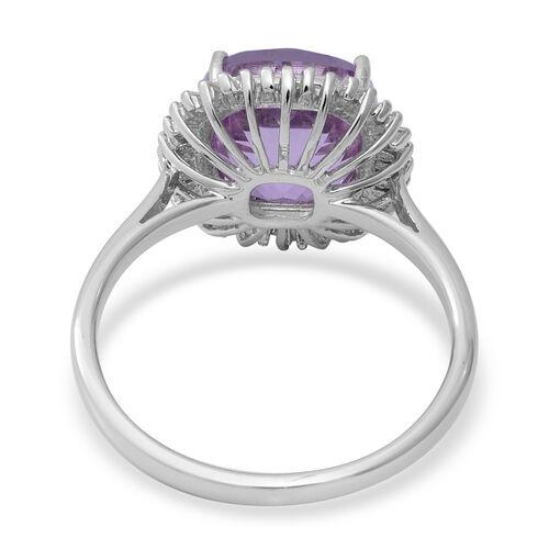 9K White Gold Kunzite and Natural Diamond Ring 5.30 Ct.