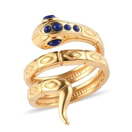 Sundays Child - Lapis Lazuli Snake Ring in 14K Gold Overlay Sterling Silver