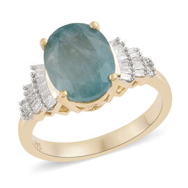 Signature Collection- 14K Yellow Gold Extremely Rare Natural Grandidierite (Ovl 10x8 mm) and Diamond Ring 2.850 Ct.