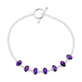 Amethyst (Ovl) Bracelet (Size 7.5 Adjustable) in Sterling Silver 3.00 Ct, Silver wt 4.70 Gms.