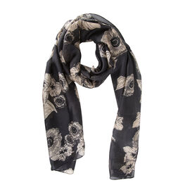 Close Out Deal- LucyK 100% Mulberry Silk Floral Pattern Scarf (Size 50x180 Cm) -  Black