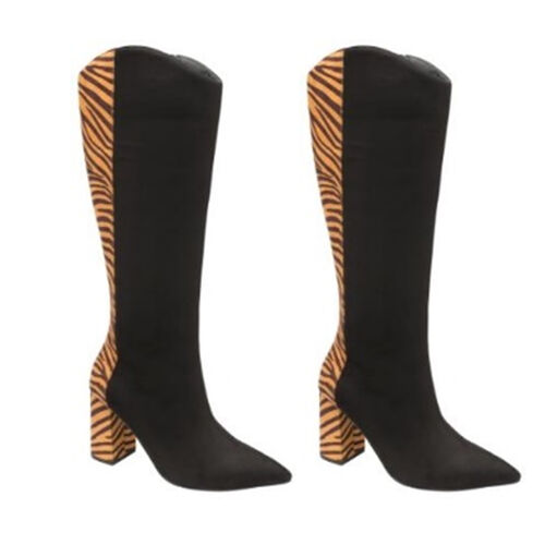 Ravel Grande Zebra Pattern Knee-High Heeled Boots (Size 3) - Black