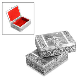 Set of 2 - Handmade Bird Embossed Oxidized Storage Box (Size 17.7x12.7x5 Cm) with Red Velvet Lining