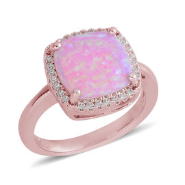 Simulated Pink Opal (Sqr), Simulated Diamond Ring in Rose Gold Bond