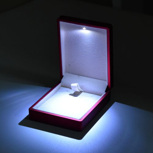 Solid Purple Colour Necklace/Earring Box with LED Light (Size 9x3.5x7cm)