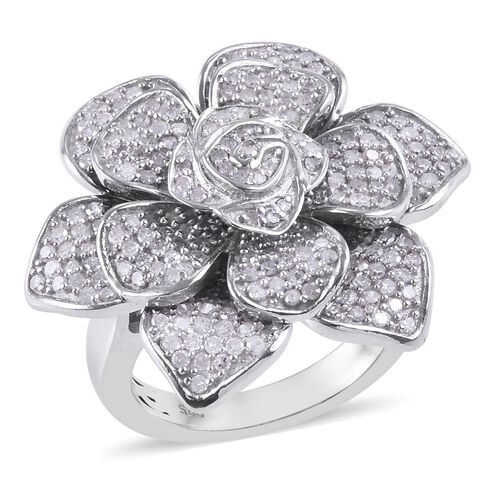 Designer Inspired- Diamond Floral Ring in Platinum Overlay Sterling Silver 1.50 Ct, Silver wt 11.56 Gms