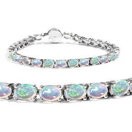 8 Carat Wegeltena Ethiopian Opal and Diamond Tennis Style Bracelet in Sterling Silver 11.16 Grams