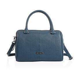Close Out Deal 100% Super Soft Genuine Leather Navy Colour Duffle Bowling Bag (Size 29x23x10 Cm)
