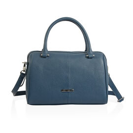 Close Out Deal 100% Super Soft Genuine Leather Navy Colour Duffle Bowling Bag (Size 29x23x10 Cm)
