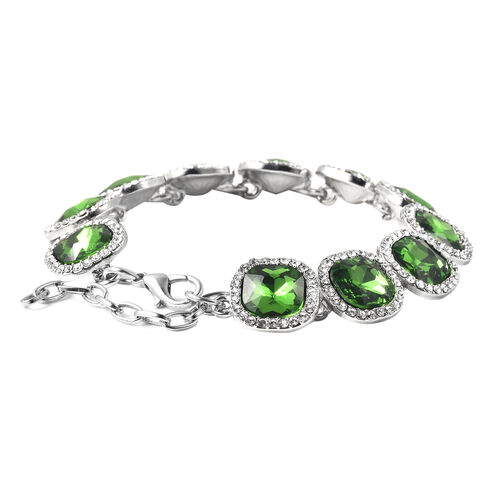 Simulated Peridot, White Austrian Crystal Bracelet (Size 7 with 2 inch Extender) in Silver Tone