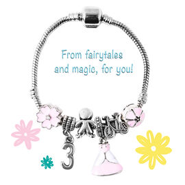 Children Happy 3 Birthday Charms Bracelet in White Austrian Crystal Size 6.5 Inch with Silver Tone