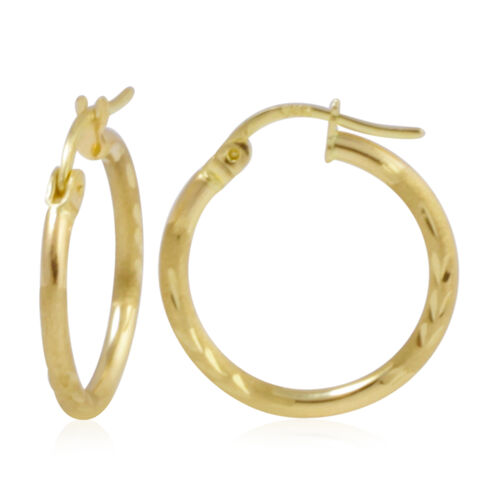 Vicenza Collection- 9K Yellow Gold Diamond Cut Hoop Earrings (with Clasp)