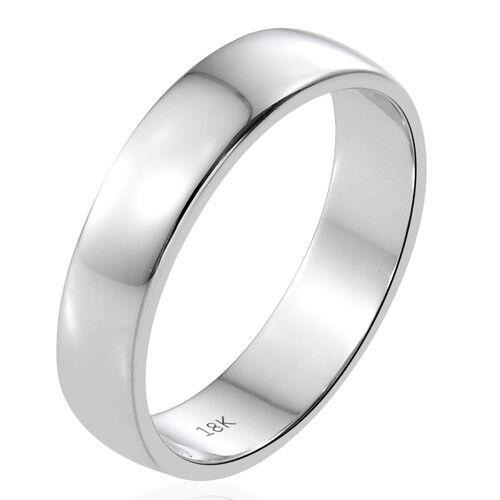 ILIANA Heavy D Shape 5mm Wedding Band Ring in 18K White Gold 5.55 gms