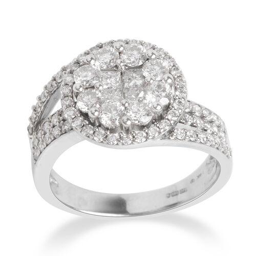 1.50 Carat Diamond Cluster Ring in 14K White Gold 6 Grams I1-I2 GH
