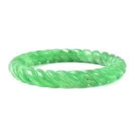 235 Ct Hand Carved Green Jade Spiral Design Bangle 7.5 Inch
