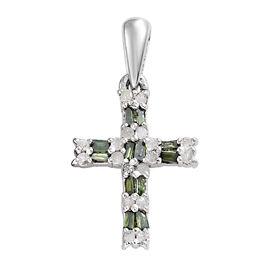 Green Diamond (Bgt), White Diamond Cross Pendant in Platinum Overlay Sterling Silver