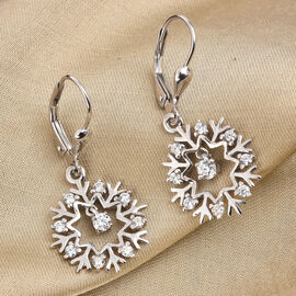 J Francis Platinum Overlay Sterling Silver Snowflake Lever Back Earrings Made with SWAROVSKI ZIRCONI