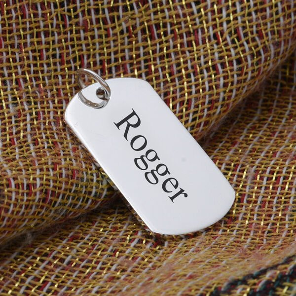 Personalised Engravable Dog Tag Pendant in Silver