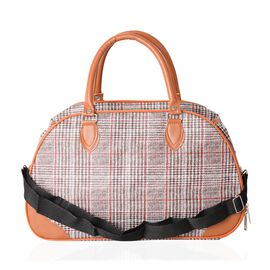 Classic Balck With Red Checker Pattern Large Weekend with Adjustable Shoulder Strap (Size 42x17.5x25 Cm)