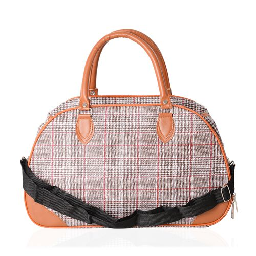 Classic Black With Red Checker Pattern Large Weekend with Adjustable Shoulder Strap (Size 42x17.5x25