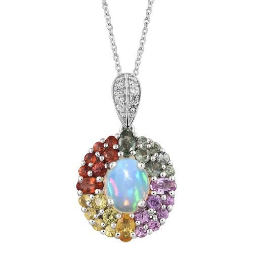 Ethiopian Welo Opal (Ovl 1.60 Ct), Rainbow Sapphire and Natural Cambodian Zircon Pendant with Chain