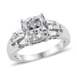 J Francis Made with SWAROVSKI ZIRCONIA Solitaire Ring in Platinum Plated Silver
