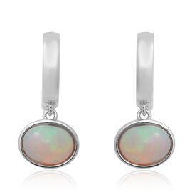 Ethiopian Welo Opal (Ovl), Earrings (with Clasp) in Rhodium Overlay Sterling Silver 1.66 Ct.