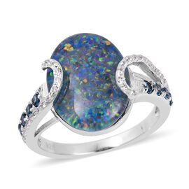 Rare  Size Boulder Opal (Ovl 16x12 mm), London Blue Topaz and Natural Cambodian White Zircon Ring in