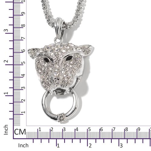 White Austrian Crystal and Simulated Diamond Pendant With Chain (Size 28 with 2.50 inch Extender) in Silver Plating.