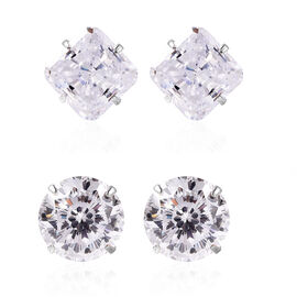 Set of 2 - ELANZA Simulated Diamond Stud Earrings (with Push Back)  in Rhodium Overlay Sterling Silv