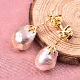 LucyQ - Freshwater Purple Baroque Pearl Earrings (with Push Back) in Yellow Gold Overlay Sterling Si
