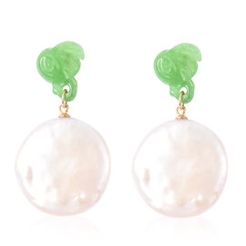 Carved Green Jade and Baroque White Pearl Earrings (with Push Back) in Yellow Gold Overlay Sterling