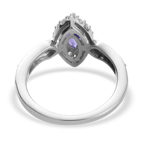 AAA Tanzanite and Natural Cambodian Zircon Marquise Ring in Platinum Overlay Sterling Silver 1.00 Ct.