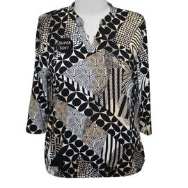 SUGAR CRISP Supersoft Printed Top/Tunic (Size 10) - Black and Brown