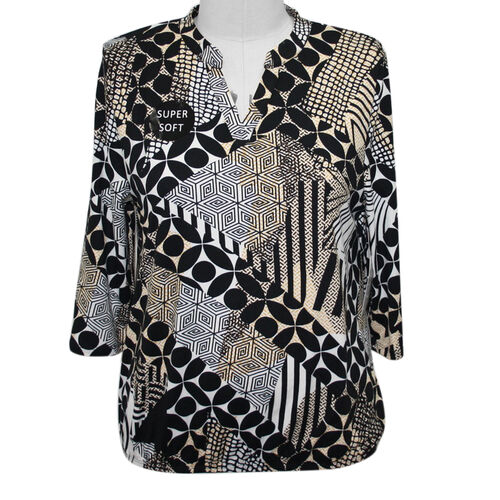 SUGAR CRISP Supersoft Printed Top/Tunic - Black and Brown