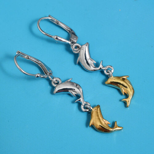 Platinum and Yellow Gold Overlay Sterling Silver Dolphin Earrings