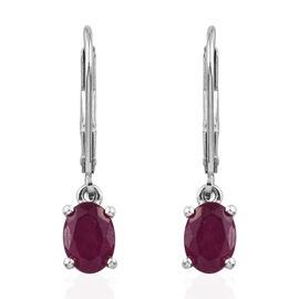 African Ruby (2.40 Ct) Platinum Overlay Sterling Silver Earring  2.250  Ct.