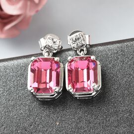 J Francis Crystal from Swarovski Rose and White Crystal Earrings (with Push Back) in Platinum Overlay Sterling Silver