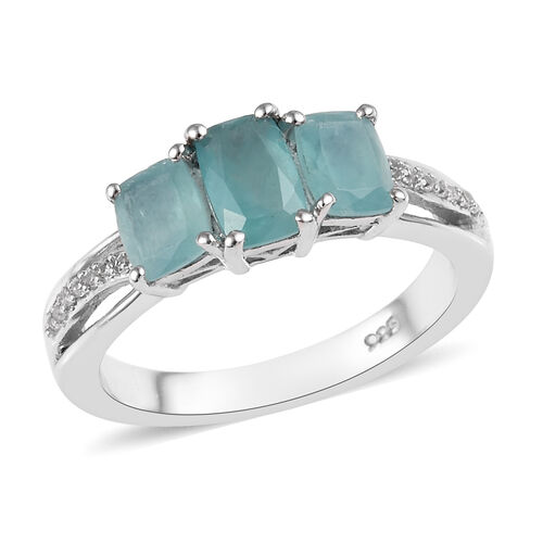 1.25 Ct Grandidierite and Zircon Trilogy Ring in Platinum Plated Sterling Silver