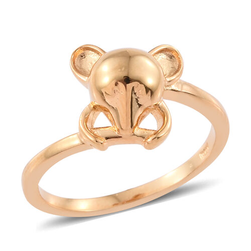 Character Mouse Ring in Yellow Gold Vermeil Sterling Silver, Silver Wt 2.86 gms