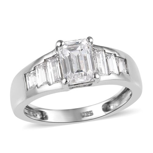 J Francis Made with SWAROVSKI ZIRCONIA 7 Stone Ring in Platinum Plated Sterling Silver