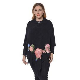 Black Poncho with Rose Embroidery and Fringe Hem (Size 90x85+10cm)